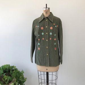 Vintage Western Floral Embroidered Denim Jacket